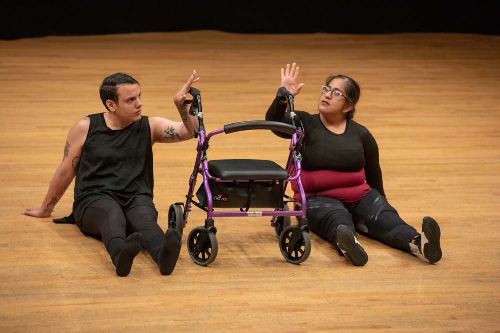 Mark Travis Rivera, left, and Vanessa Cruz dance together at the UCLA Dancing Disability Lab open studio (Photo by Reed Hutchinson/UCLA)