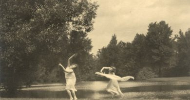 Two of Margaret H'Doubler's students [Elna Mygdal ('26) on right] dancing lakeside c. 1920s. Photographer unknown.