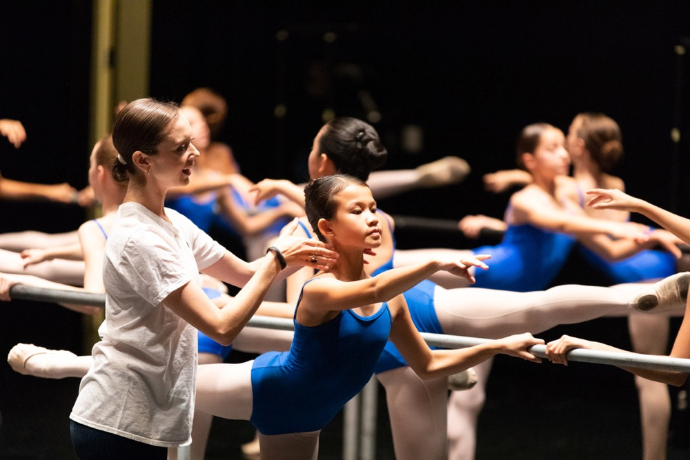 Houston Ballet Academy Lower School Principal and Children's Ballet Master Beth Everitt and Summer Intensive Program Students