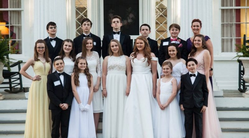 A group of Junior Cotillion students with their Director prior to the Grand Spring Ball