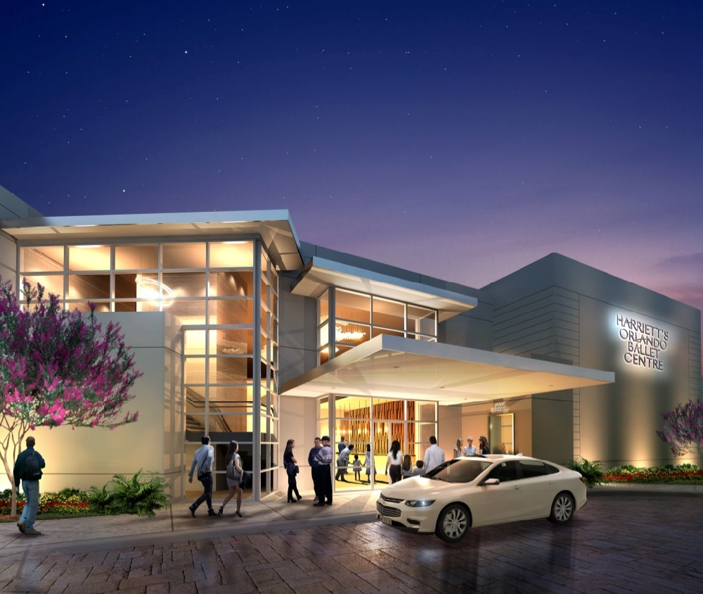 Rendering Front View of Harriett's Orlando Ballet Centre by RSVP