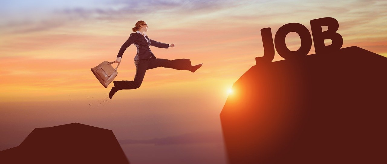 graphic of woman leaping to a new job - Image by Igor Link from Pixabay