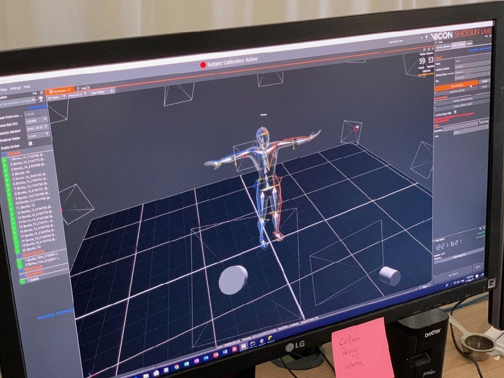 The motion capture data is analysed to record the range of movement of the joints of participants in the study on video screen