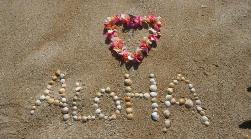 Aloha by bibianagonzalez, image of Aloha created by shells on the beach with additional heart sign