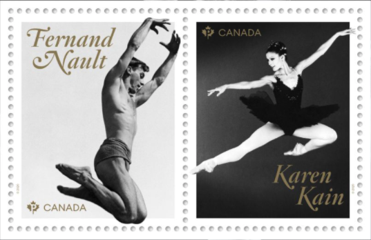 stamps featuring male ballet dancer and female ballerina